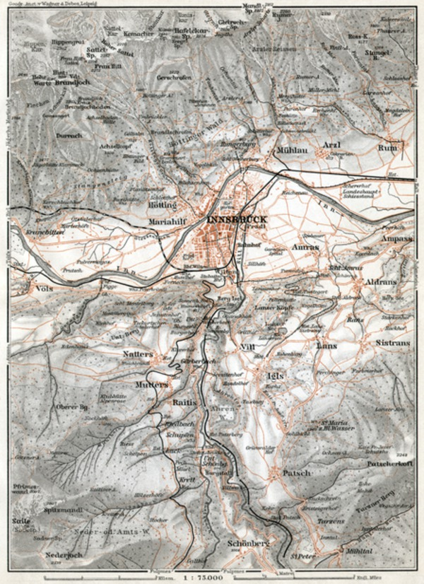 Innsbruck environs map, 1910