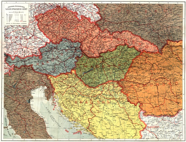 General and Railway Map of the Austro-Hungarian Empire Successor States (in Czech), 1920