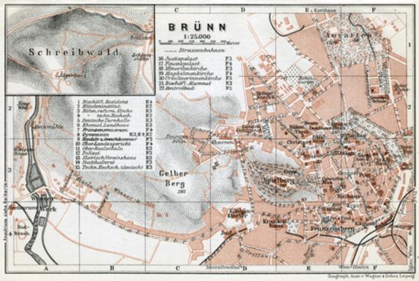 Brünn (Brno), town plan with environs map (Schreibwald - Blansko), 1910