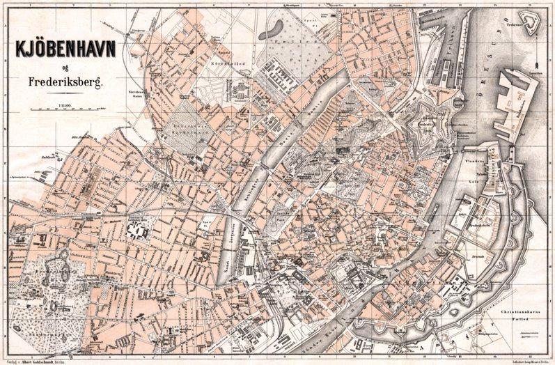 Copenhagen Kjbenhavn Kbenhavn town plan 1913 Waldin Avenza