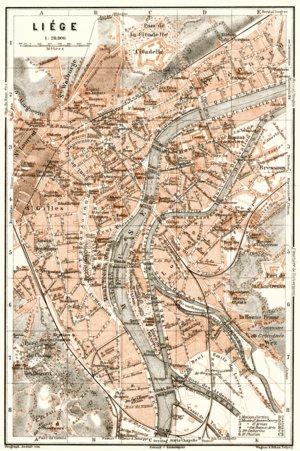Liège (Lüttich) town plan, 1909