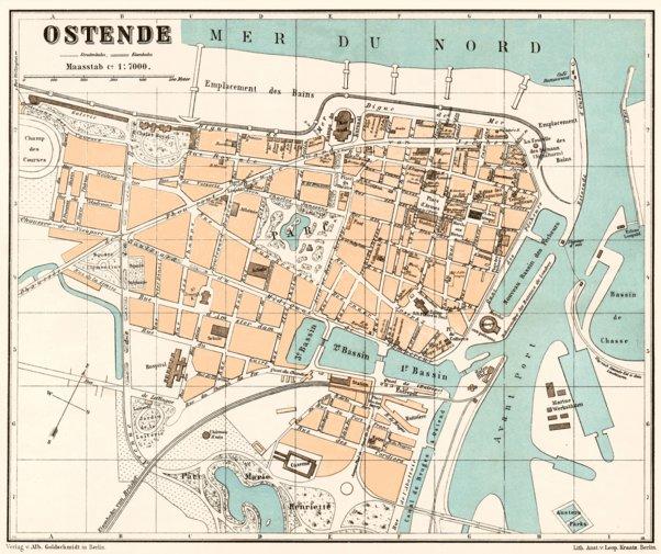 Ostend (Ostende) town plan, 1908