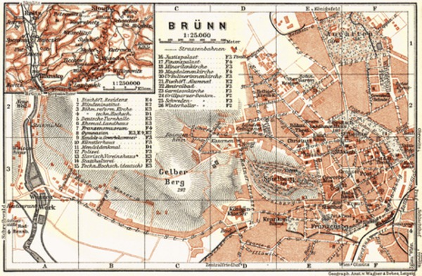 Brünn (Brno), town plan with environs map (Blansko), 1911