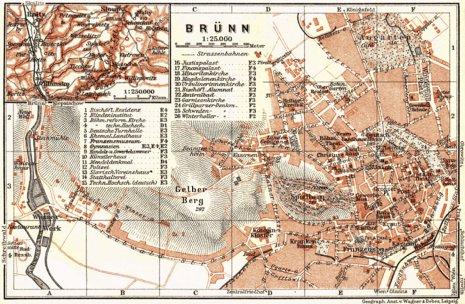 Brünn (Brno), town plan with environs map (Blansko), 1911