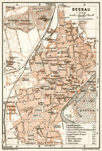 Dessau city map 1911 Waldin Avenza Maps