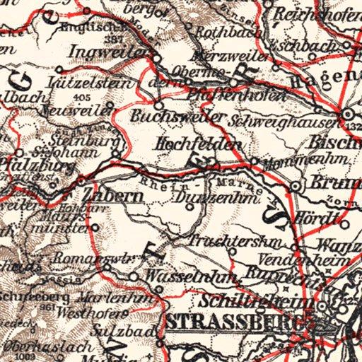 Germany Southwestern Regions General Map 1913 Waldin Avenza Maps