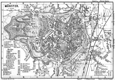 Mnster city map 1887 Waldin Avenza Maps
