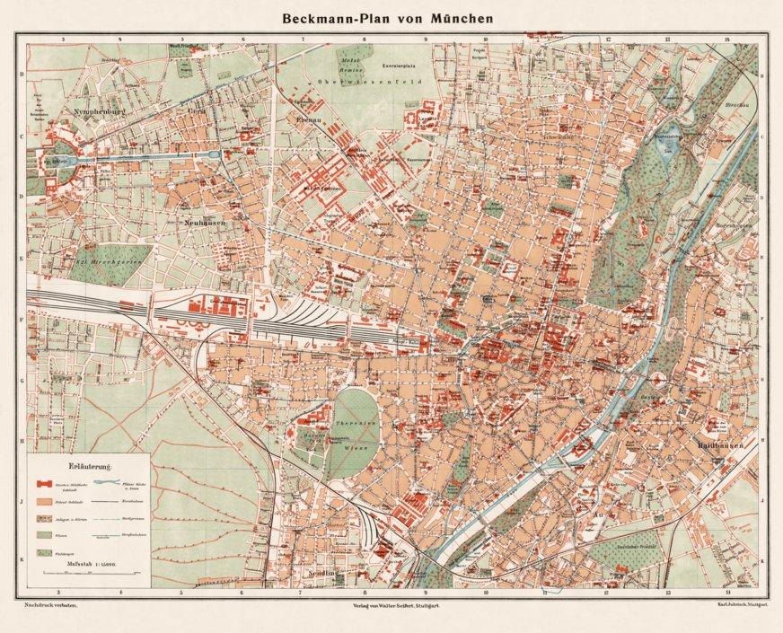 München (Munich) city map, 1910 - Waldin - Avenza Maps