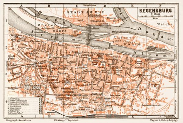 Regensburg city map, 1909