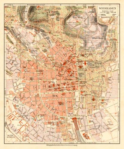 Wiesbaden city map 1927 Waldin Avenza Maps