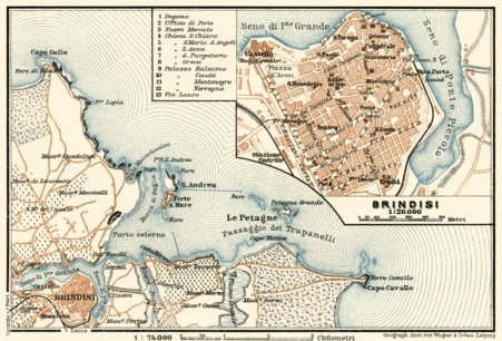 Environs of Brindisi map 1929 Waldin Avenza Maps