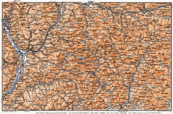 Dolomite Alps (Die Dolomiten) from Franzensfeste to Belluno district map, 1905