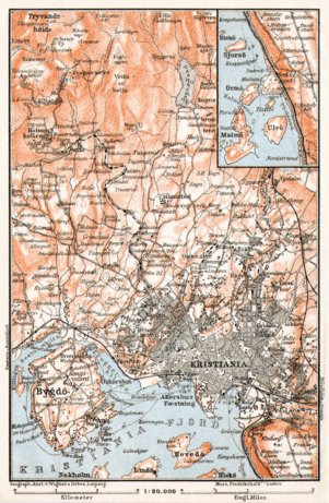 Christiania (Oslo) and environs map, 1911