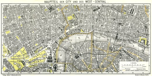 London City Centre Map 1911 Waldin Avenza Maps