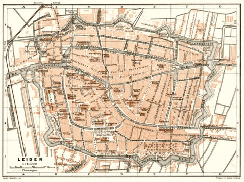 Leiden city map 1909 Waldin Avenza Maps