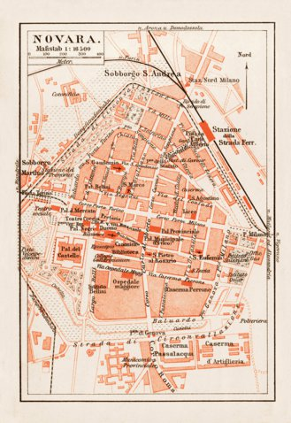 Novara city map 1903 Waldin Avenza Maps