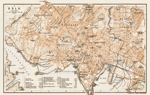 Oslo city map, 1929