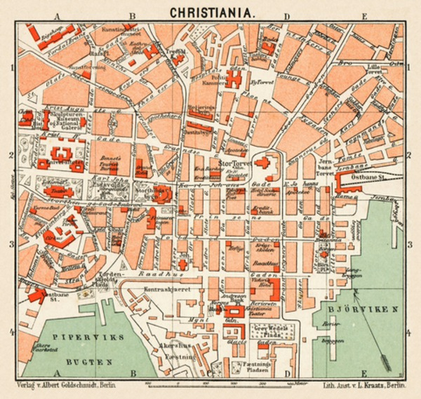 Christiania (Oslo) city centre map, 1911