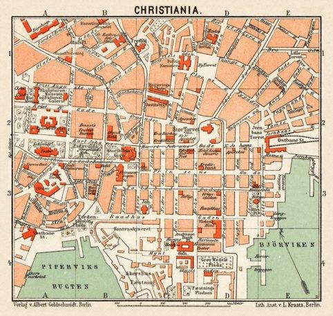 Christiania (Oslo) city centre map, 1911