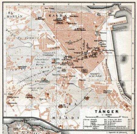Tnger Tangier city map 1913 Waldin Avenza Maps