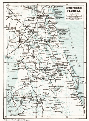 Northern Florida Map.Map Of The Northern Florida 1909 Waldin Avenza Maps
