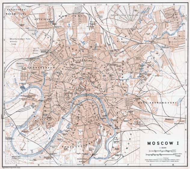 Moscow (Москва, Moskva), city map (in English), 1914 ...