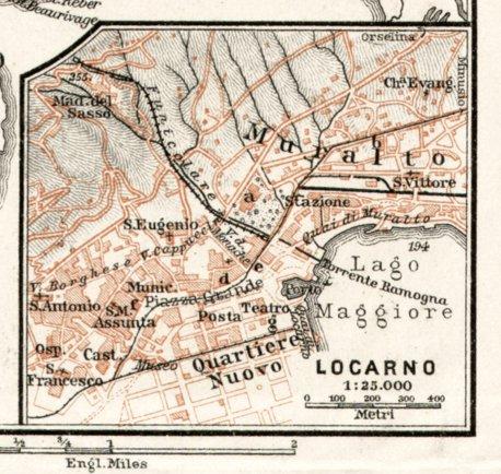 Locarno city map 1909 Waldin Avenza Maps