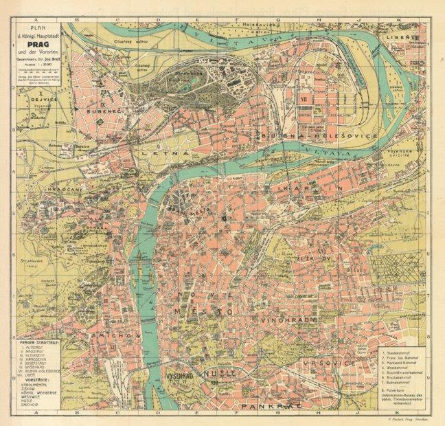 Prague (Prag, Praha) city map, 1913 - Waldin - Avenza Maps
