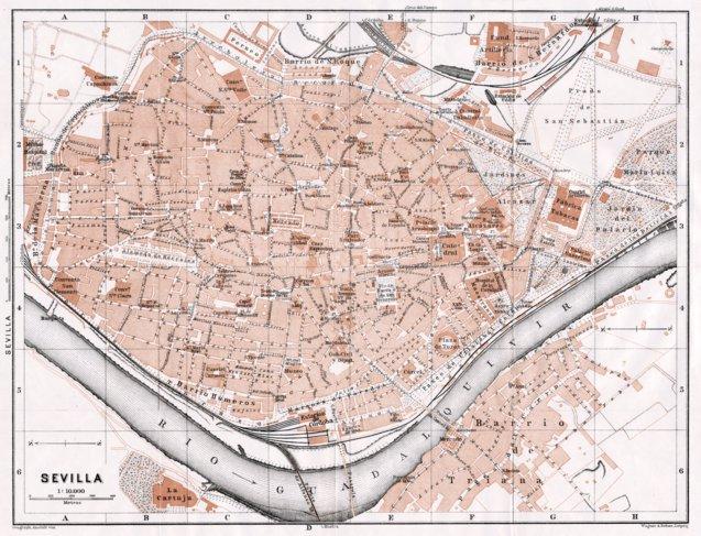 Seville (Sevilla) city map, 1911 - Waldin - Avenza Maps