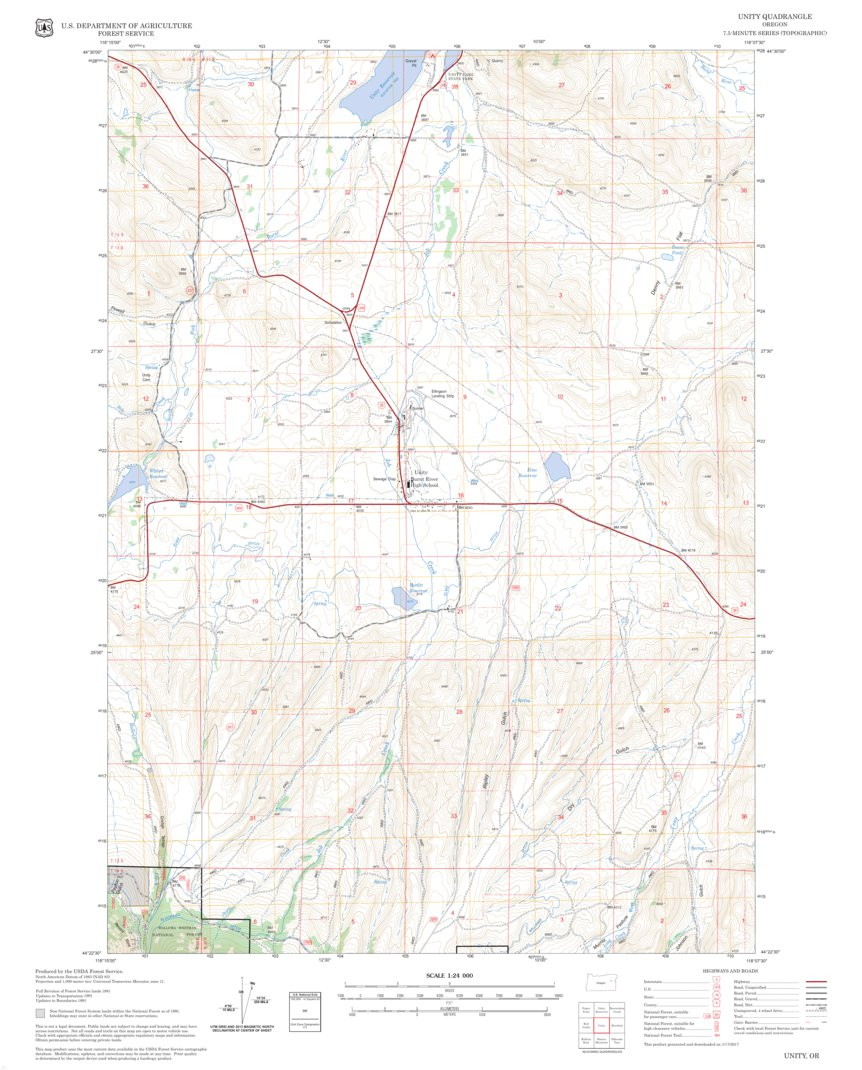 Unity Oregon Map.Unity Us Forest Service Topo Avenza Maps