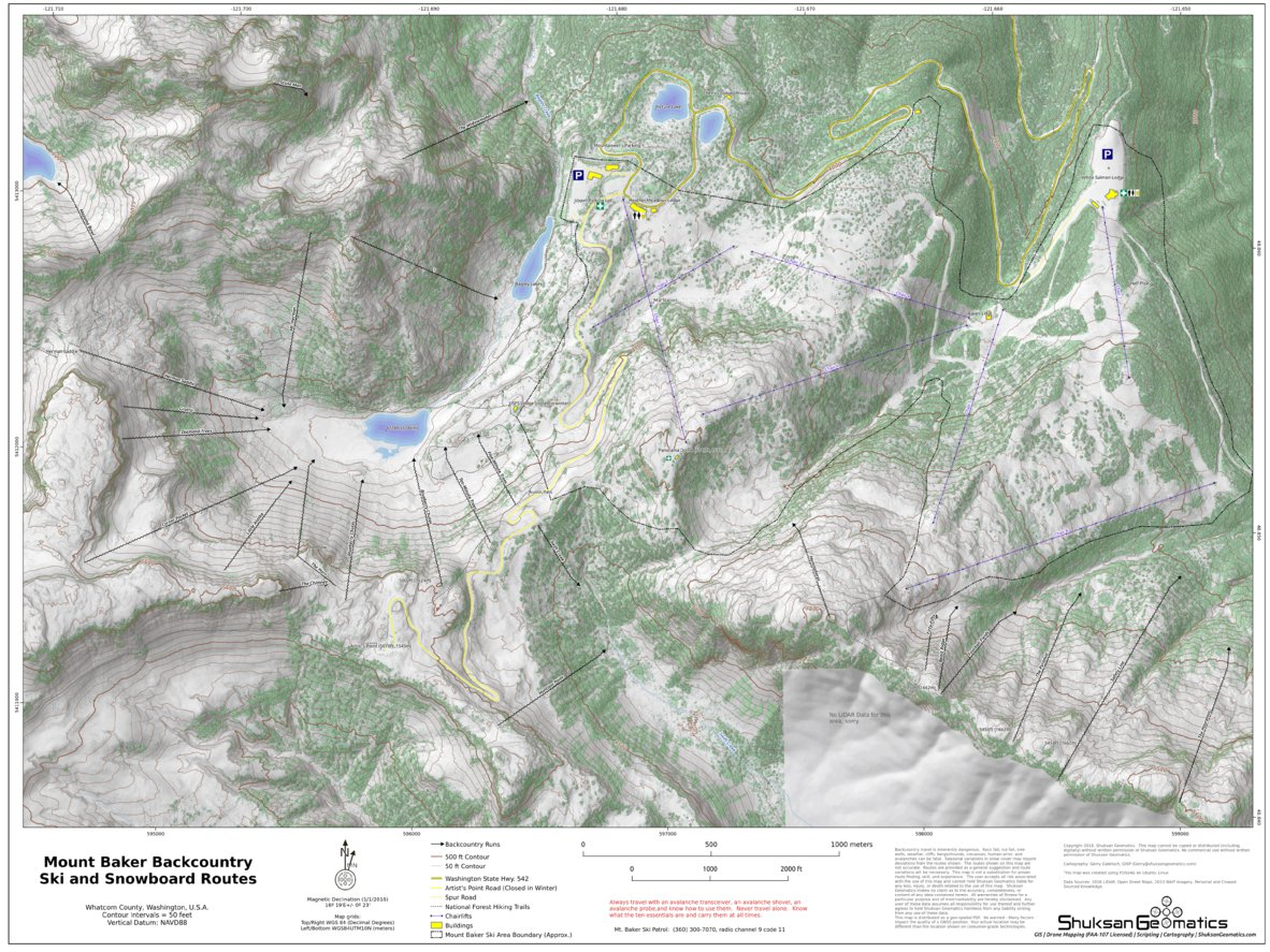 Mt Baker Backcountry Ski Routes Shuksan Geomatics Avenza Maps