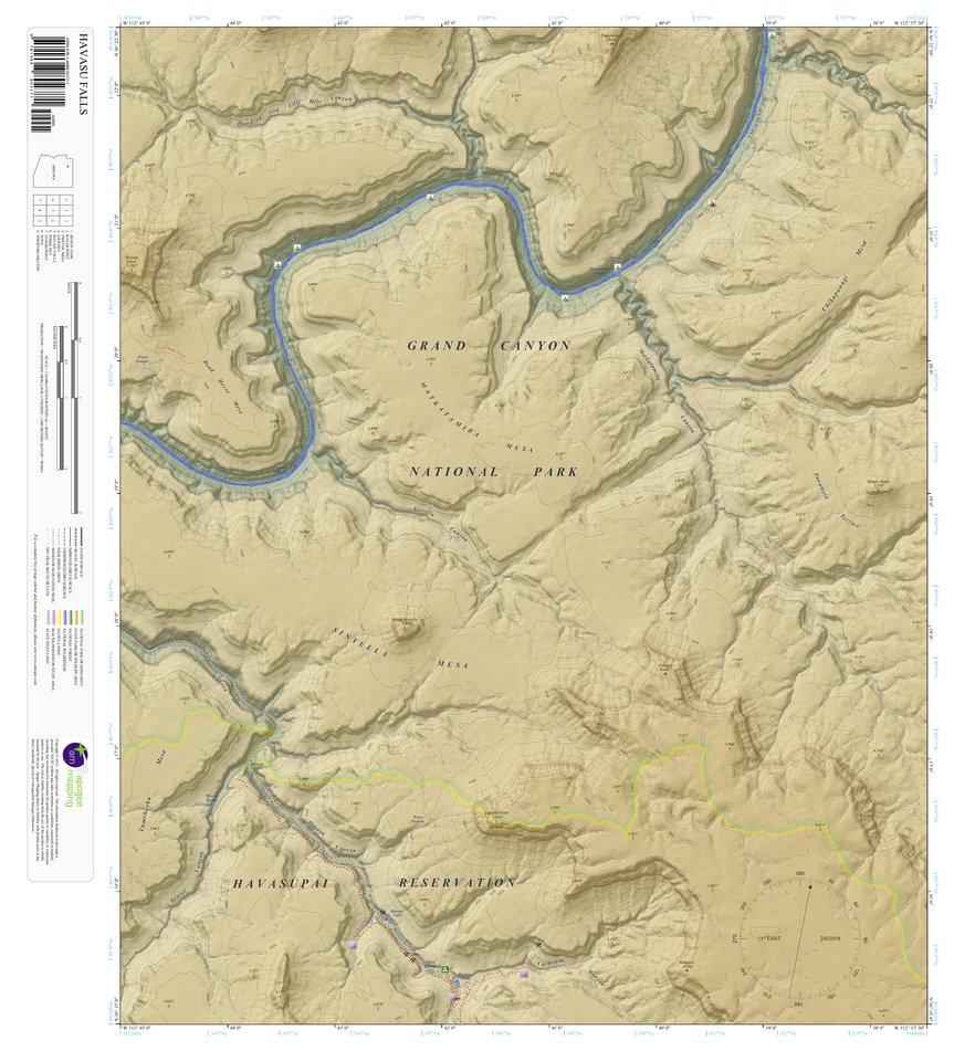 Topographic Map Arizona.Havasu Falls Arizona 7 5 Minute Topographic Map Color Hillshade