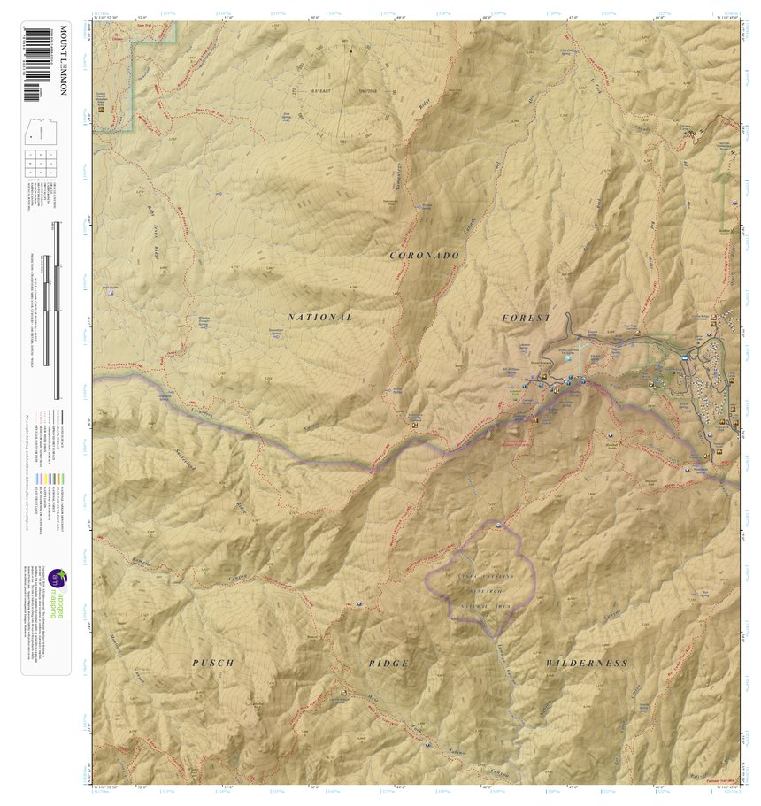 Az Topographic Map.Mount Lemmon Arizona 7 5 Minute Topographic Map Color Hillshade