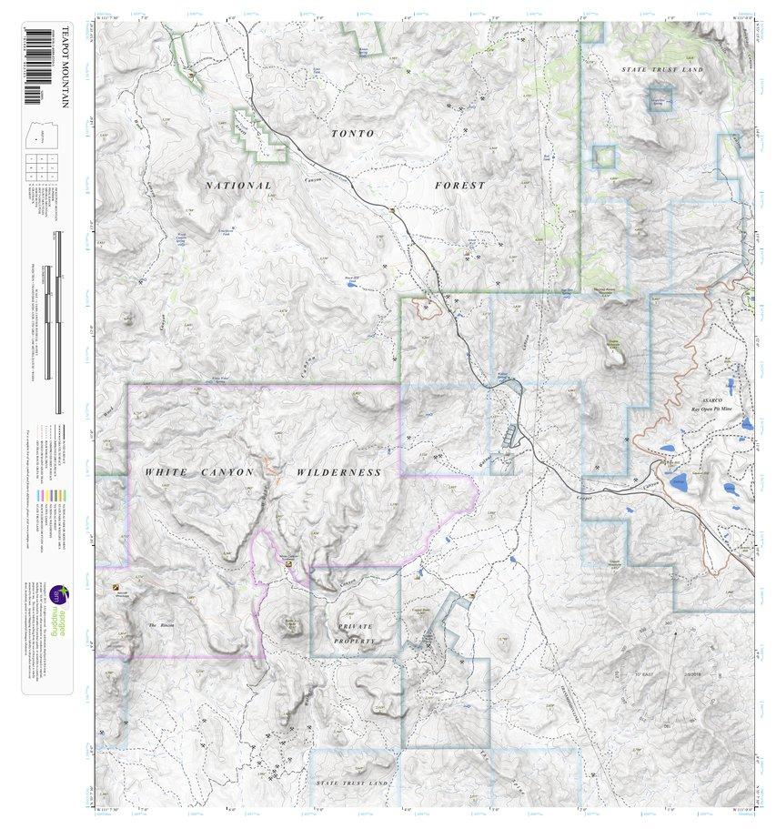 Teapot Mountain, Arizona 7.5 Minute Topographic Map - Apogee Mapping ...