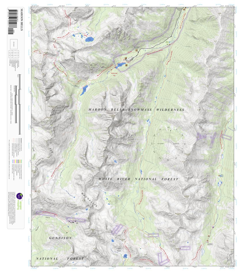 Maroon Bells, Colorado 7.5 Minute Topographic Map - Apogee Mapping ...