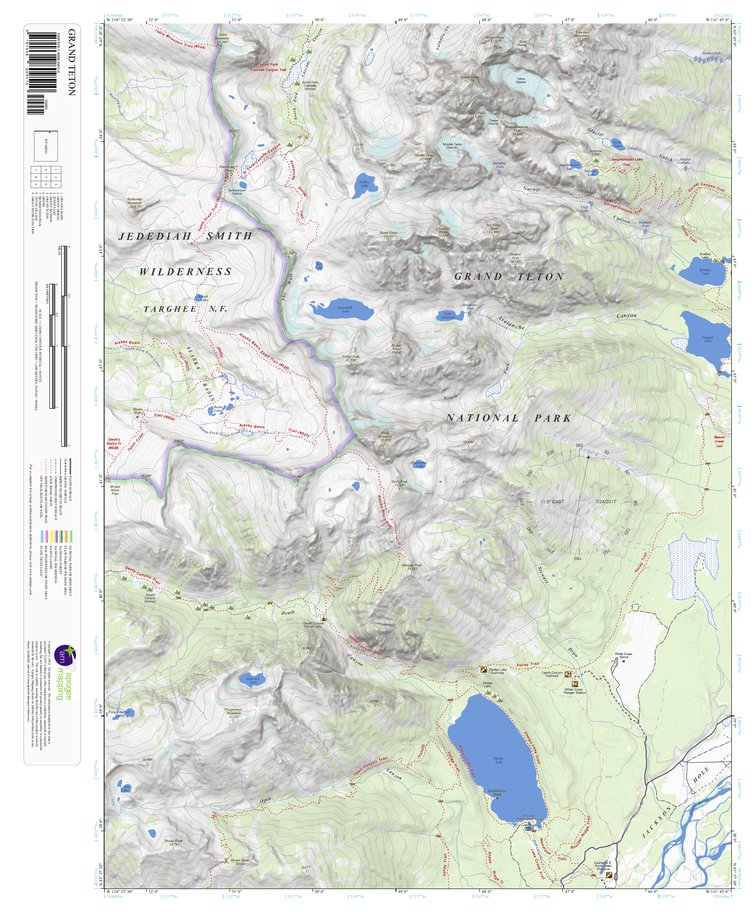 Grand Teton, Wyoming 7.5 Minute Topographic Map - Apogee Mapping ...