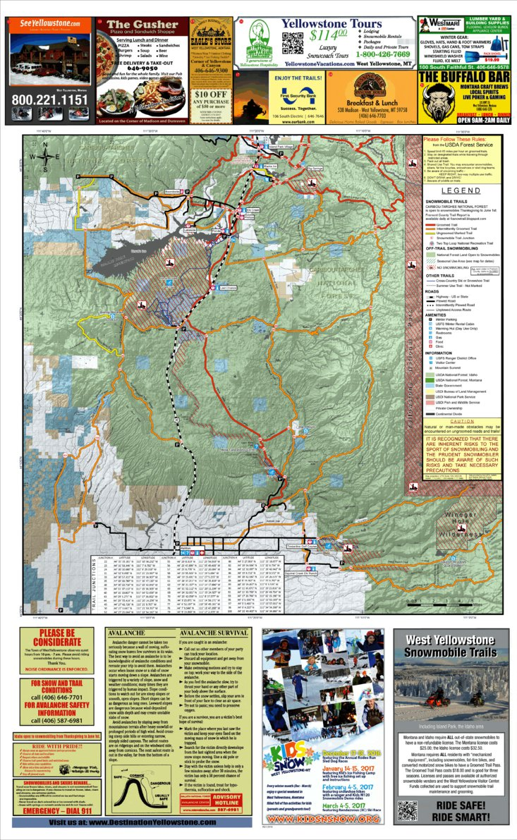 West Yellowstone Snowmobile Map South Half Montanagps Avenza Maps