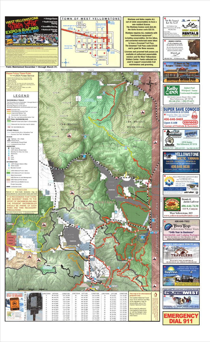 West Yellowstone Snowmobile Map North Half Montanagps Avenza Maps