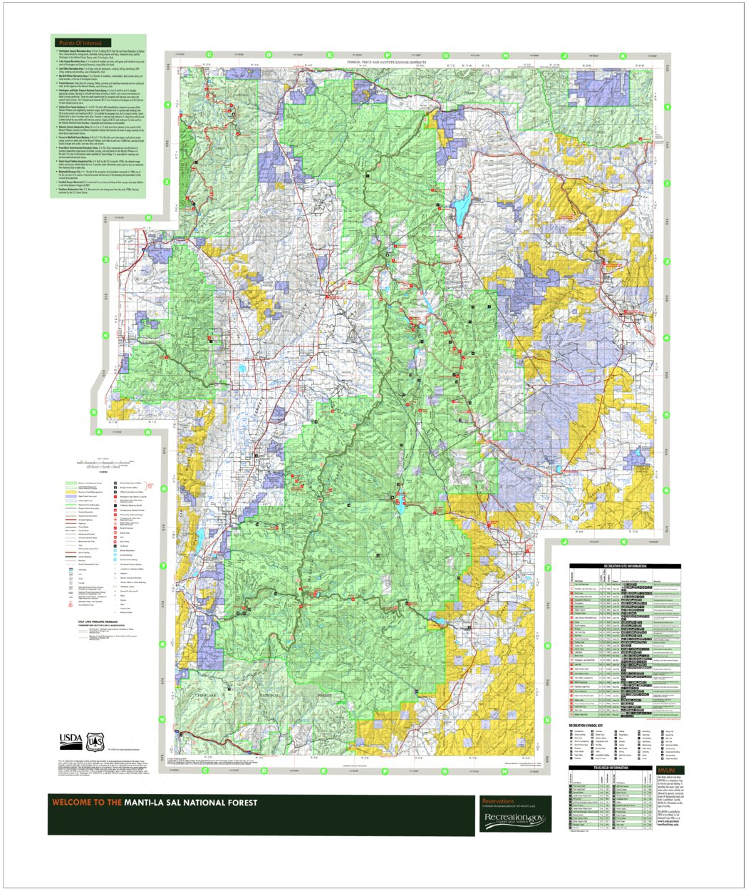 La On Us Map.Manti La Sal National Forest Sanpete Ferron Price Ranger Districts