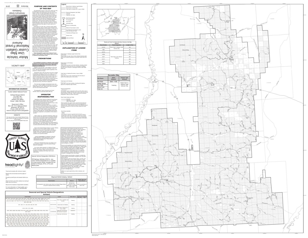 Ashland Montana Map.Custer Nf Mvum Ashland Rd 2018 Us Forest Service R1 Avenza Maps