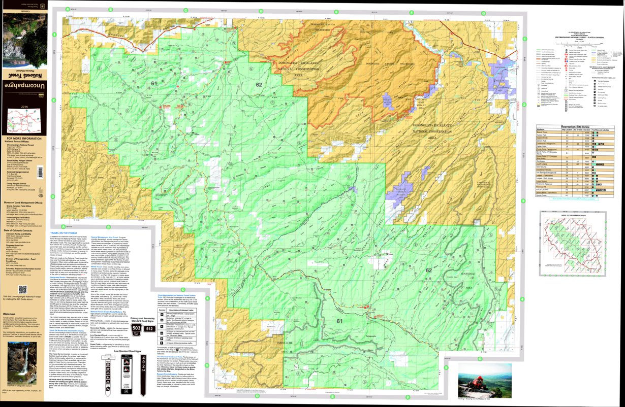 Plateau Division Uncompahgre National Forest Map Waterproof