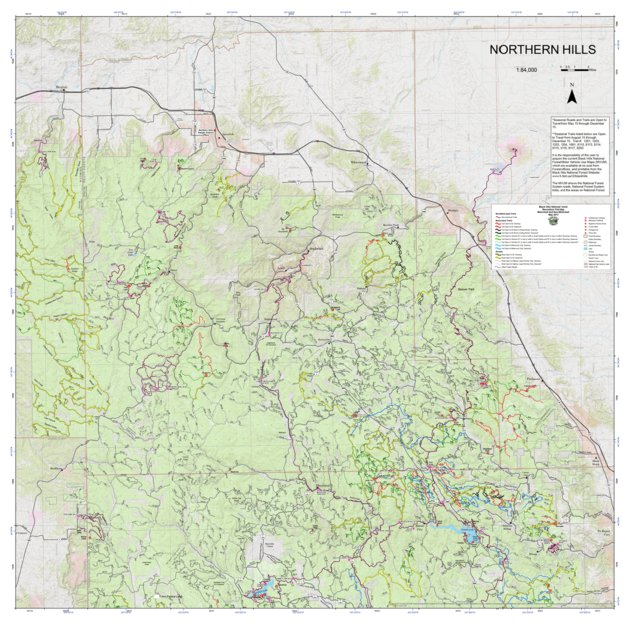 Black Hills National Forest Recreation Map Northern Hills US