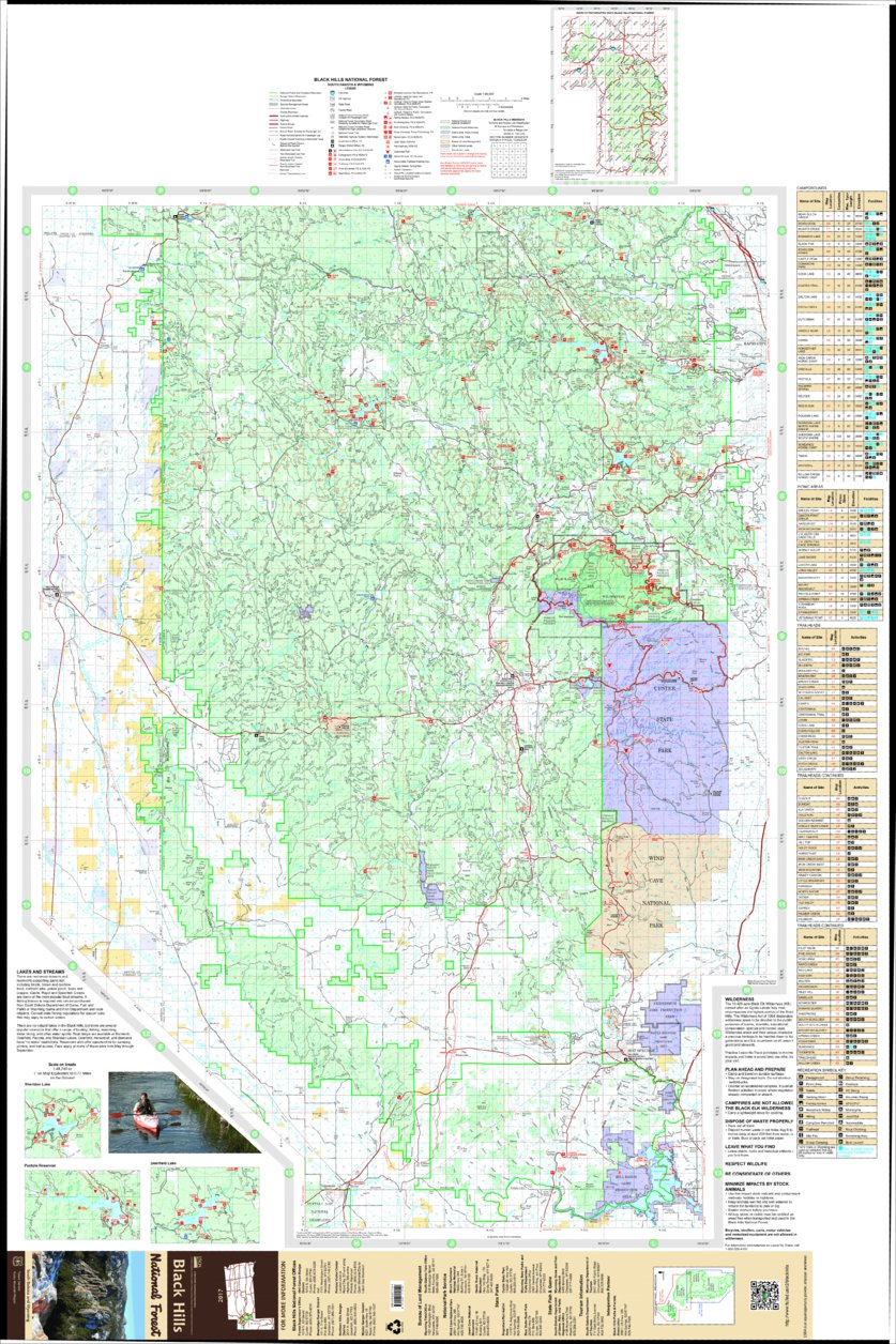 Black Hills National Forest Visitor Map South 2017 US Forest