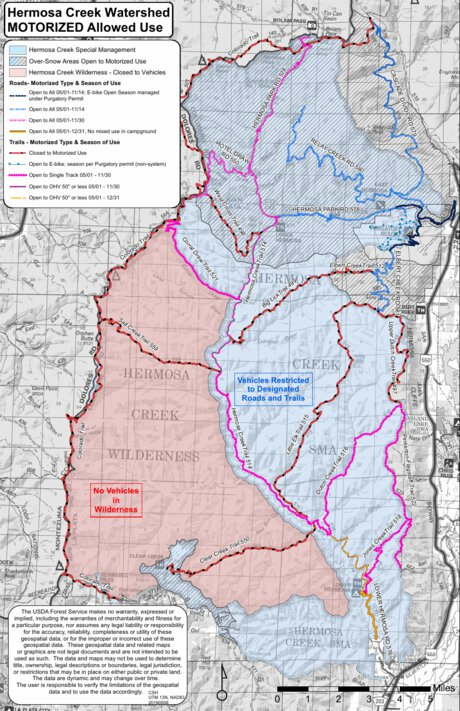 San Juan NF - Hermosa Creek Watershed - Motorized Vehicle Travel Map - US  Forest Service R2 Rocky Mountain Region - Avenza Maps