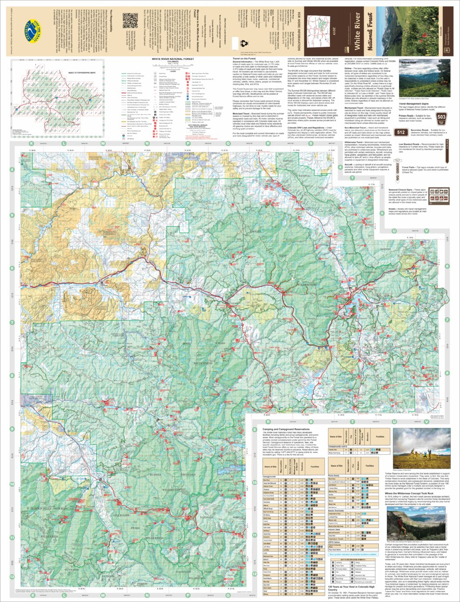 White River National Forest Visitor Map (East Half) - US ...