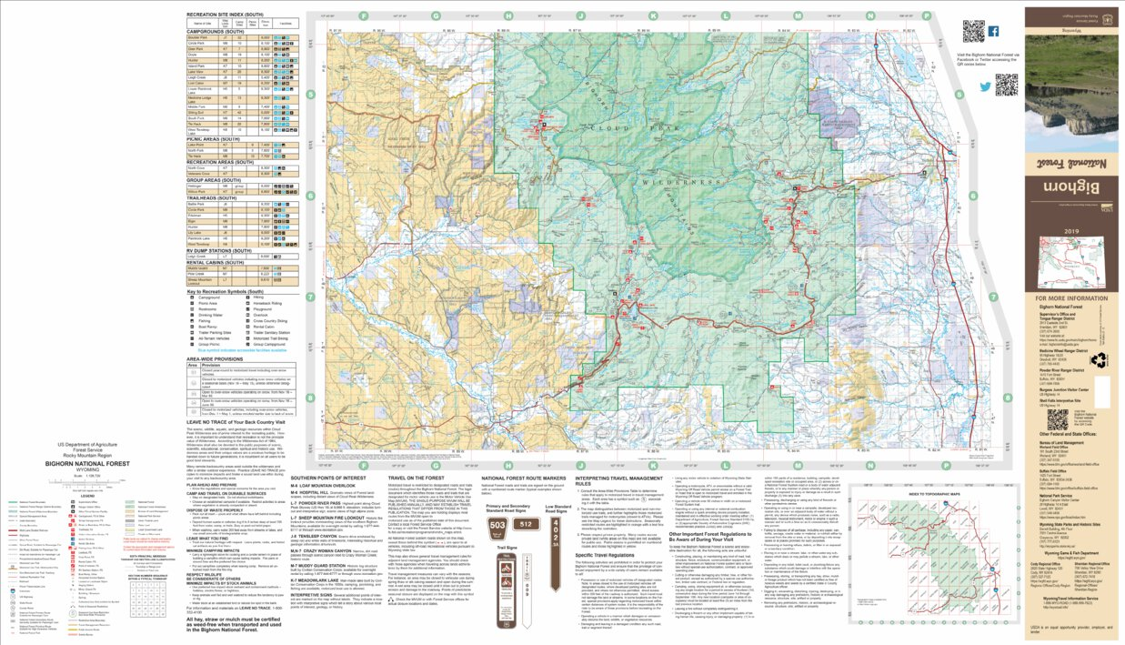 Bighorn National Forest Visitor Map (South Half) - US Forest ...