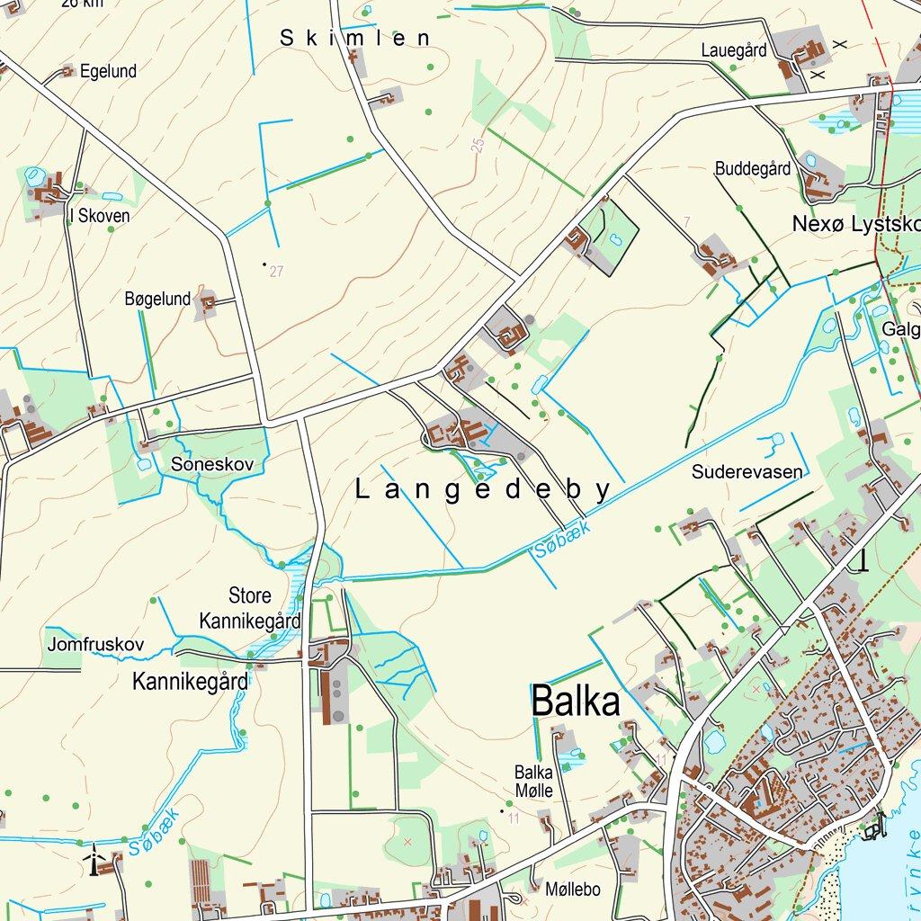 Aakirkeby 1 25 000 Scale Kortforsyningen Avenza Maps