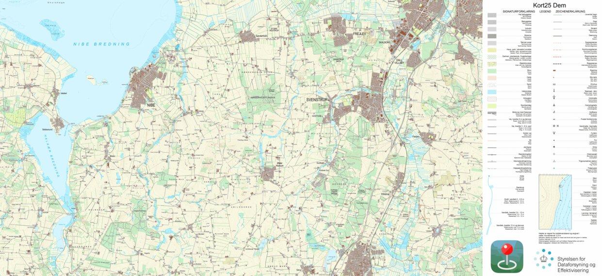 Nibe 1 25 000 Scale Kortforsyningen Avenza Maps