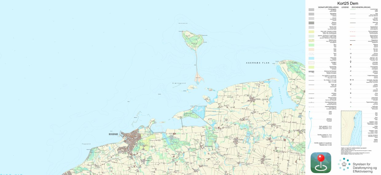 Bogense 1 25 000 Scale Kortforsyningen Avenza Maps