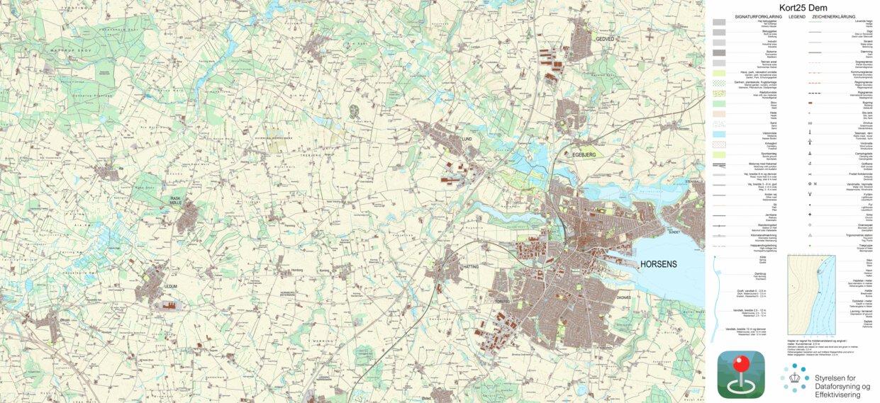 Horsens 1 25 000 Scale Kortforsyningen Avenza Maps
